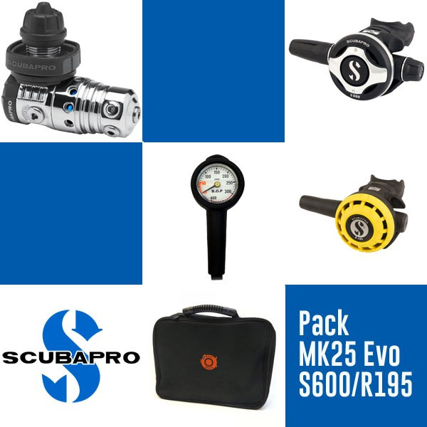Pack MK25 Evo DIN / S600 / R195 Scubapro boulogne plongee paris